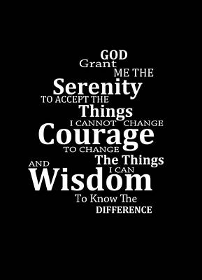 Serenity Prayer 5 - Simple Black And White Art Print by Sharon Cummings