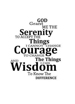 Serenity Prayer 6 - Simple Black And White Art Print by Sharon Cummings
