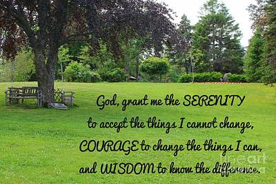 Serenity Prayer And Park Bench Art Print by Barbara Griffin