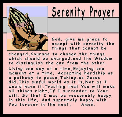 The Lord Himself Will Descend Digital Art - Serenity Prayer by Barbara Snyder