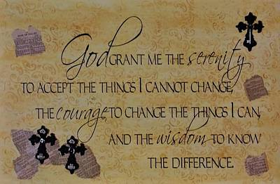 Mixed Media - Serenity Prayer Mixed Media by Cindy Micklos
