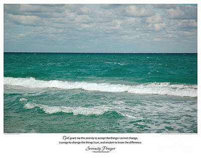 Serenity Prayer Print -- Crashing Waves At Hilton Head Art Print by Spirit Greetings