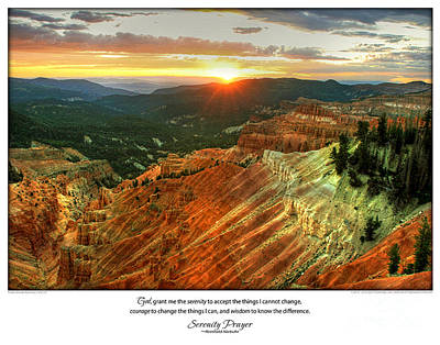 Serenity Prayer Print -- Sunset At Cedar Breaks National Park Art Print by Spirit Greetings