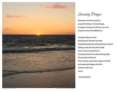 Serenity Prayer Print -- Sunset From Santa Monica Pier Art Print by Spirit Greetings