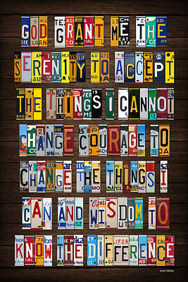 Serenity Prayer Reinhold Niebuhr Recycled Vintage American License Plate Letter Art Art Print by Design Turnpike