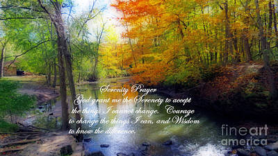 Photograph - Serenity Prayer With Beautiful Autumn Scene by Kay Novy