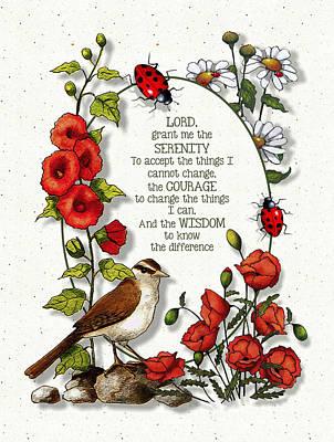 Mixed Media - Serenity Prayer With Flowers by Joyce Geleynse