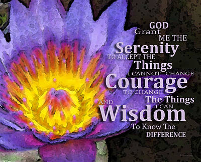 Serenity Prayer With Lotus Flower By Sharon Cummings Print by Sharon Cummings