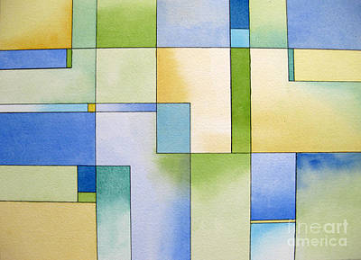 Serenity Watercolor Pen And Ink Geometric Abstract Painting Art Print by Cherilynn Wood