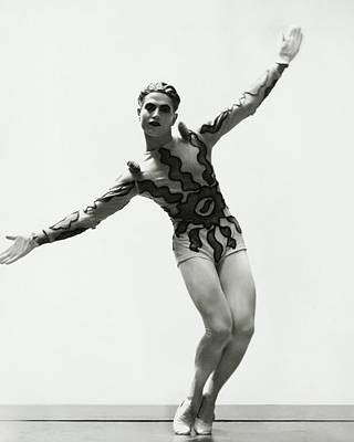 Bacchus Photograph - Serge Lifar Wearing A Painted Leotard by George Hoyningen-Huene