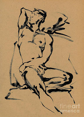 Male Nude Drawing Drawing - Sergey Rest  by Konstantin Boreo