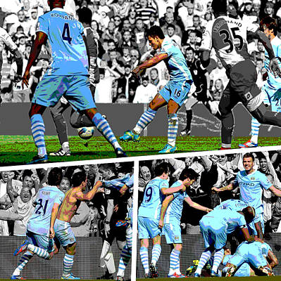 Sports Photograph - Sergio Aguero Goal Vs Qpr by Pro Prints