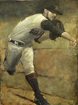 San Francisco Giants Painting - Sergio Save by Darren Kerr