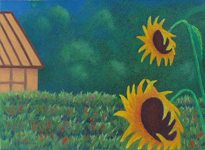 Pastel - Sergi's Sunflowers by Anne Katzeff