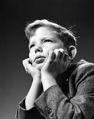 Contemplative Photograph - Serious Boy With Chin In Hands, C.1940s by H. Armstrong Roberts/ClassicStock