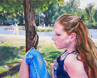 July 4th Painting - Serious Moment by Kay Bohren