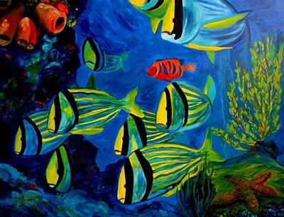 Vivid Colour Painting - Serious Stripes - Colorful Fish by Julie Brugh Riffey
