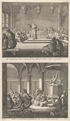 Indoor Drawing - Sermon By A Priest At An Altar And Paul Of Samosata by Jan Luyken And Barent Visscher And Jacobus Van Hardenberg