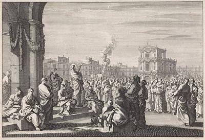Sermon Drawing - Sermon Of Christ Temple, Jan Luyken, Pieter Mortier by Quint Lox