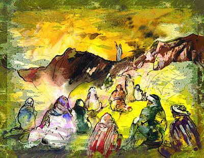 Impressionism Drawings - Sermon On Mount Sinai 02 by Miki De Goodaboom