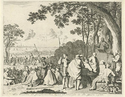 Sermons Outside Antwerp, 1566, Belgium, Jan Luyken Art Print
