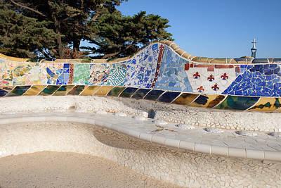 Serpentine Bench In Park Gueli In Barcelona Art Print by Artur Bogacki