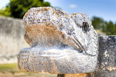 Photograph - Serpent's Head At Chichen Itza Ball Court by Mark E Tisdale