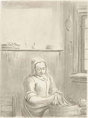 Table Cloth Drawing - Servant With Tub, Jurriaan Cootwijck by Jurriaan Cootwijck