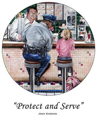 Law Enforcement Art Painting - Serve And Protect by John Kiernan