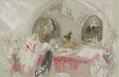 Gouache Abstract Painting - Service In The Chapel At Petworth by Joseph Mallord William Turner