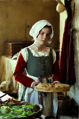 Serving The Bread Art Print by Ian Merton