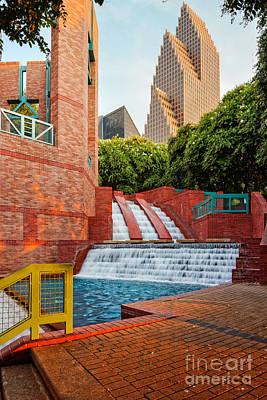 Sesquicentennial Fountains At Wortham Center - Downtown Houston Texas Art Print by Silvio Ligutti