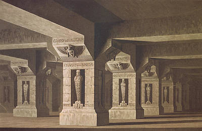 Interior Scene Drawing - Set Design For Act II Scene Xx Of The Magic Flute By Wolfgang Amadeus Mozart 1756-91  by Karl Friedrich Schinkel