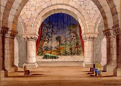 Production Drawing - Set Design For Hamlet By William by English School