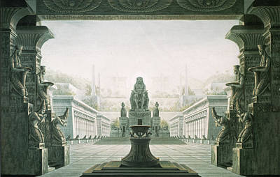 Worship God Painting - Set Design For Last Scene Of The Magic Flute By Wolfgang Amadeus Mozart 1756-91  by Karl Friedrich Schinkel