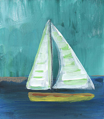 Abstract Landscape Royalty-Free and Rights-Managed Images - Set Free- Sailboat Painting by Linda Woods