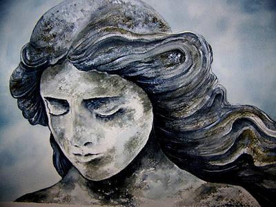 Statue Portrait Painting - Set In Stone by Brenda Owen