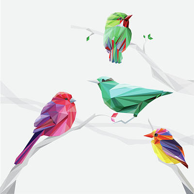 Digital Art - Set Of Abstract Geometric Colorful Birds by Pika111