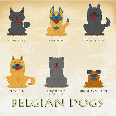 Set Of Belgian Dogs Original by Don Kuing