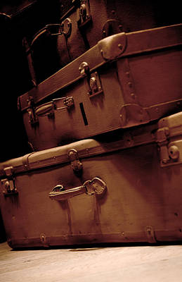 Treasure Box Photograph - Set Of Brown Old Traveling Suitcases by Jaroslaw Blaminsky