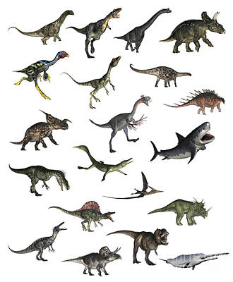 Set Of Dinosaurs Art Print by Elena Duvernay