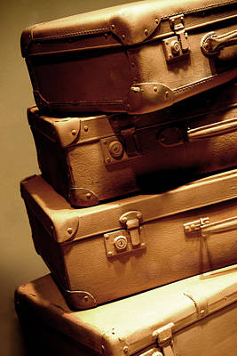 Treasure Box Photograph - Set Of Old Light Brown Suitcases by Jaroslaw Blaminsky
