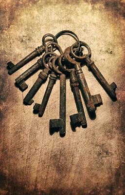 Set Of Old Rusty Keys On The Metal Surface Art Print by Jaroslaw Blaminsky