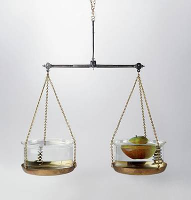 Set Of Scales With A Bowl Of Water Art Print by Dorling Kindersley/uig