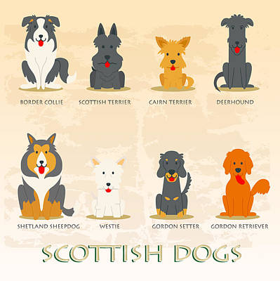 Set Of Scottish Dogs  Original by Don Kuing