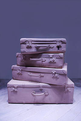 Treasure Box Photograph - Set Of Violet Old Traveling Suitcases by Jaroslaw Blaminsky