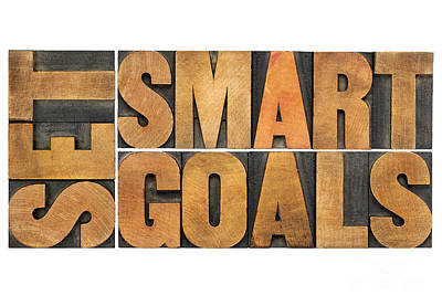 Set Smart Goals In Wood Type Art Print
