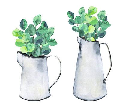 Digital Art - Set With Metal Jars And Eucalyptus by Maria Mirnaya