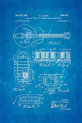 Seth Lover Gibson Humbucker Pickup Patent Art 1959 Blueprint Art Print by Ian Monk