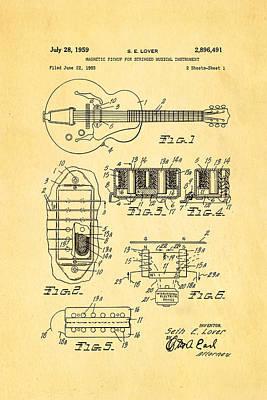 Seth Lover Gibson Humbucker Pickup Patent Art 1959 Art Print by Ian Monk